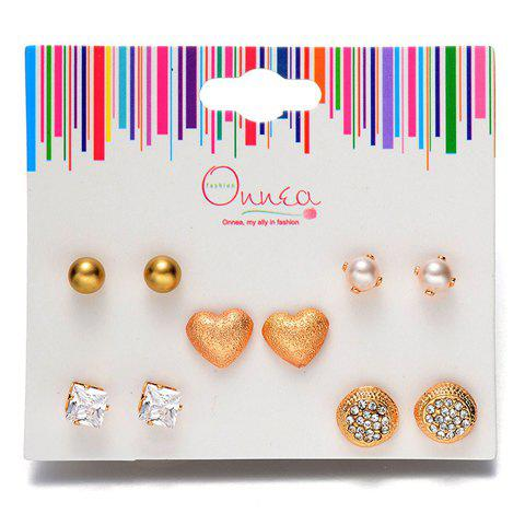 A Suit of Chic Rhinestone Faux Pearl Heart Earrings For Women - GOLDEN