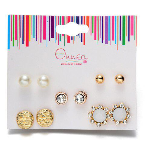 A Suit of Faux Pearl Rhinestone Earrings - GOLDEN