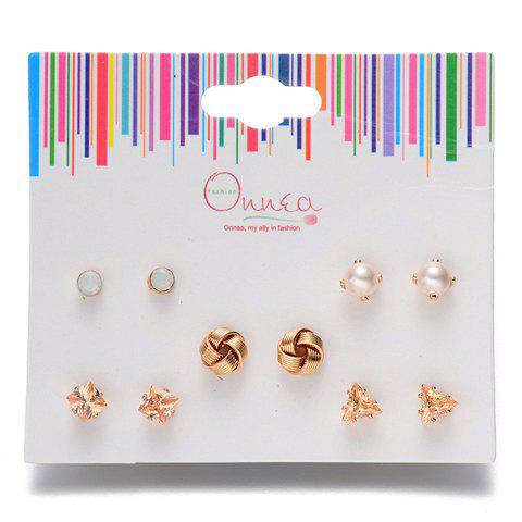 A Suit of Faux Pearl Knot Triangle Earrings - GOLDEN