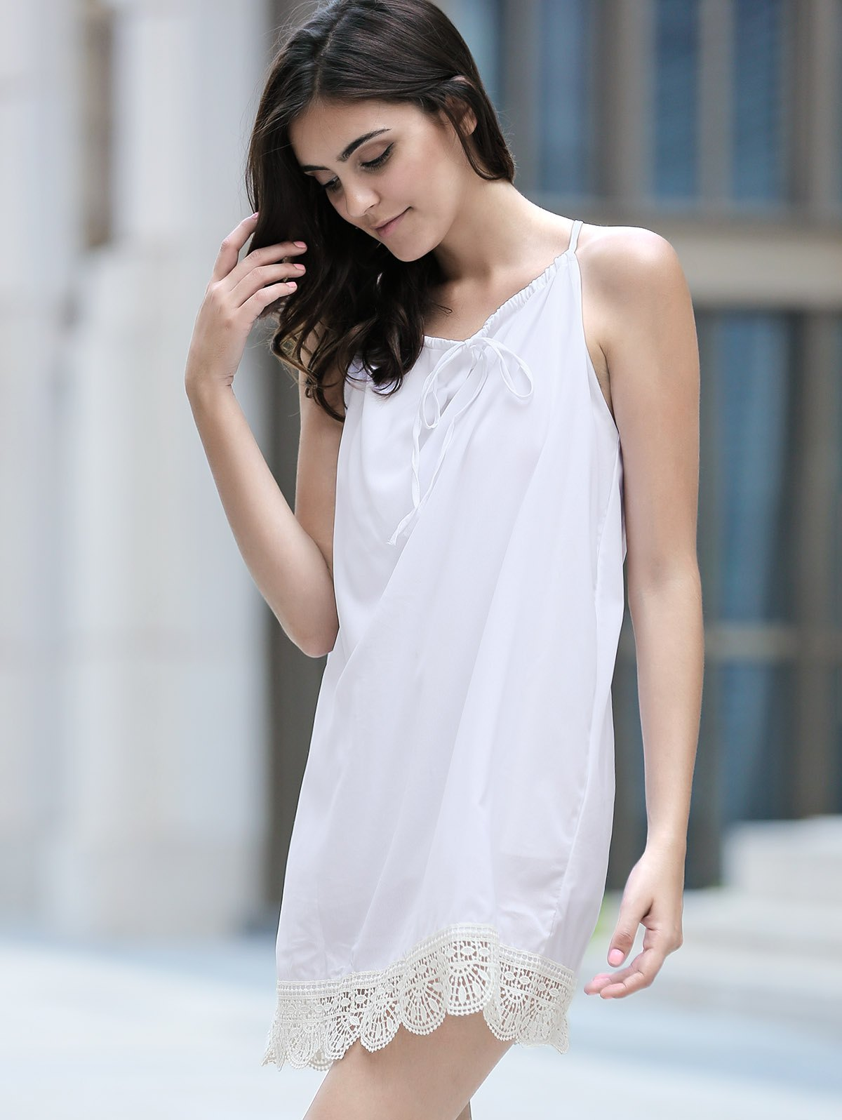 Stylish Halter Sleeveless Lace Splicing Dress For Women - WHITE S