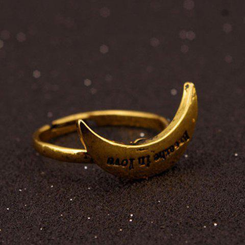 Letters Crescent Alloy Ring - GOLDEN