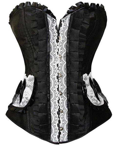 Retro Style Strapless Lace-Up Bowknot Embellished Lace Splicing Corset For Women - BLACK XL