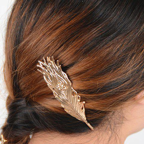 Simple Feather Shape Alloy Hairgrip For Women - GOLDEN