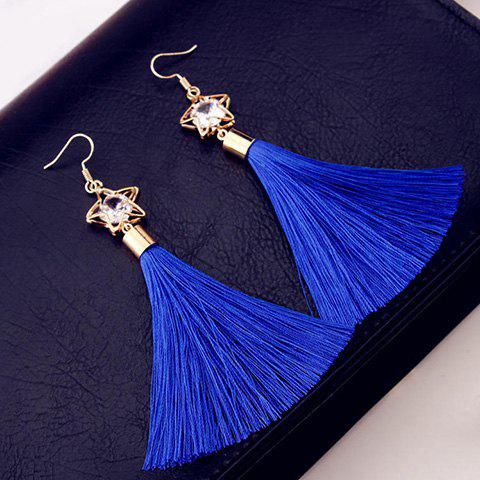 Pair of Pentagram Faux Zircon Tassel Drop Earrings - BLUE