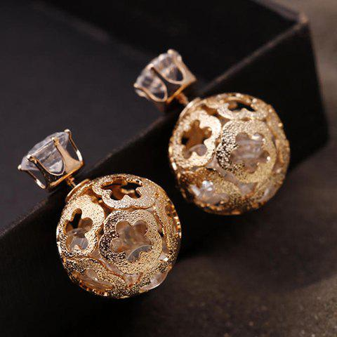 Pair of Faux Zircon Double End Flowers Ball Stud Earrings - GOLDEN