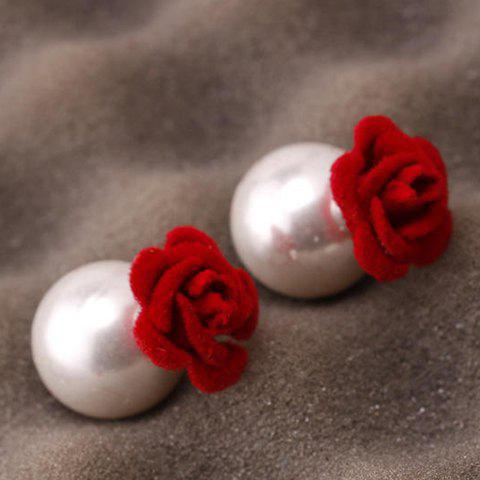Pair of Double Ended Flower Faux Pearl Stud Earrings - RED