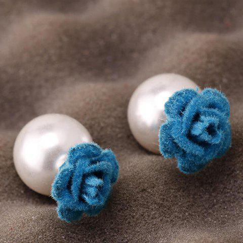 Pair of Elegant Double-End Faux Pearl Flower Stud Earrings For Women