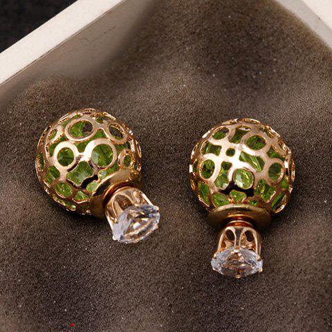 Pair of Elegant Double-End Faux Zircon Hollow Out Stud Earrings For Women - GREEN