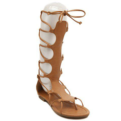 Leisure Lace-Up and Flip Flop Design Women's Sandals - BROWN 37