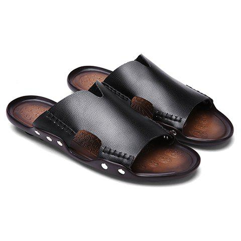 Leisure Stitching and PU Leather Design Men's Slippers - BLACK 43