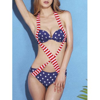 Cut Out Star Striped One Piece Swimwear For Women
