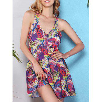 Fresh Style V Neck Cross-Back Printed One Piece Women's Swimwear