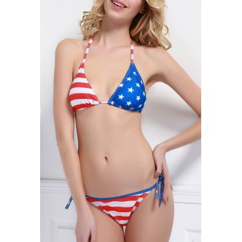 Sexy Style Halter Neck Star Stripe American Flag Print Tie-Up Bikini Set For Women
