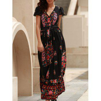 Bohemian Plunging Neck Short Sleeve Floral Print Maxi Dress