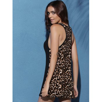 Charming Leopard Print Sheath Racerback Tank Top For Women - BLACK L