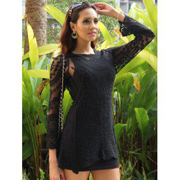 Long Sleeve Lace See-Through Dress - BLACK ONE SIZE(FIT SIZE XS TO M)
