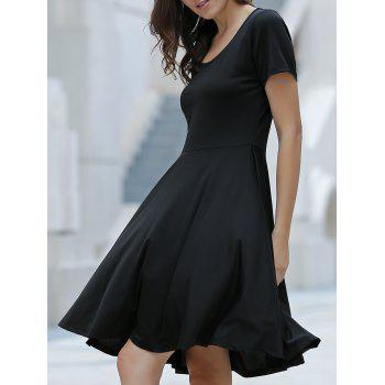 Stylish Women's Scoop Neck Short Sleeve Asymmetrical Dress