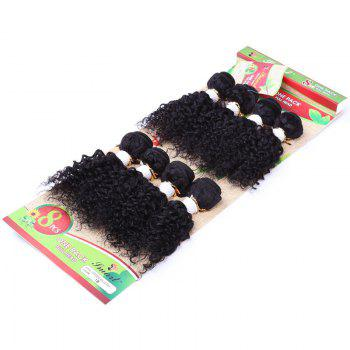 8Pcs/Lot Vogue Black Fluffy Jerry Curly 90 Percent Human Hair Blended Synthetic Women's Hair Extension