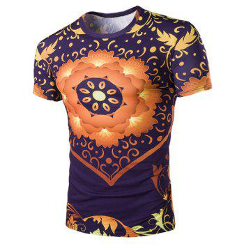 3D Floral Print Round Neck Short Sleeves Men's Slimming T-Shirt