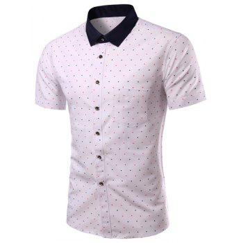 Color Block Colorful Dot Print Turn-down Collar Short Sleeves Men's Slimming Shirt