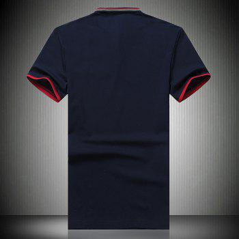 Turn-Down Collar Striped and Star Embroidered Short Sleeve Men's Polo T-Shirt - DEEP BLUE L