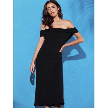 Trendy Off The Shoulder Backless Solid Color Women's Dress - XL XL