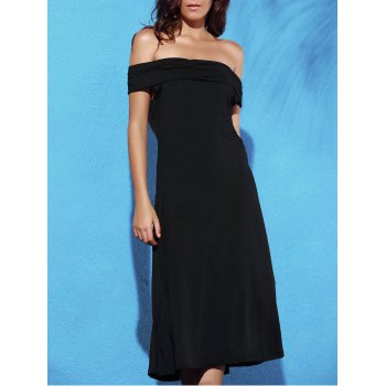 Trendy Off The Shoulder Backless Solid Color Women's Dress - BLACK XL