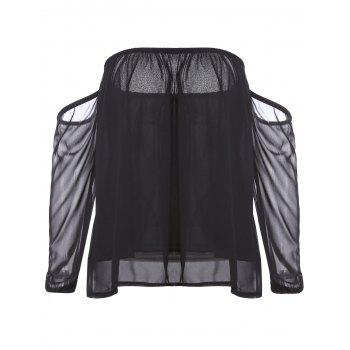 Stylish Off-The-Shoulder Long Sleeve Black See-Through Chiffon Women's Blouse