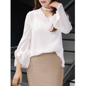 Elegant Stand Collar Bell Bottom Sleeve Cut Out Blouse For Women