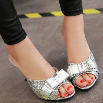 Trendy Bow and Sequined Cloth Design Women's Slippers - 39 39