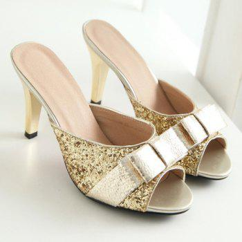 Trendy Bow and Sequined Cloth Design Women's Slippers - GOLDEN GOLDEN