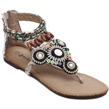 Bohemia Beading and Zipper Design Women's Sandals