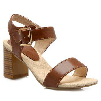 Simple Chunky Heel and Solid Color Design Women's Sandals