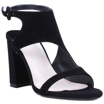 Elegant Black Color and Chunky Heel Design Women's Sandals