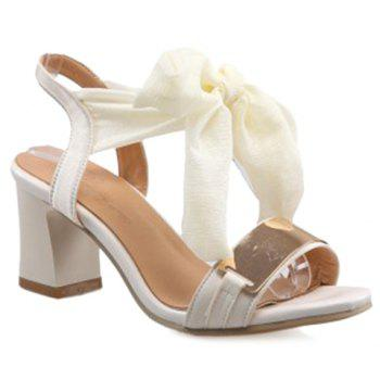 Fashion Chunky Heel and Ribbon Design Women's Sandals