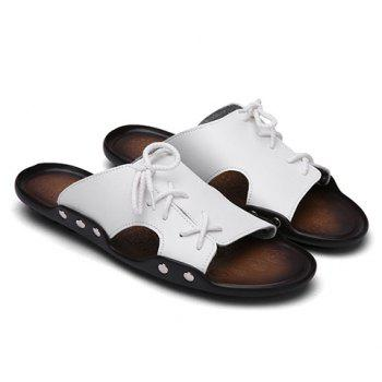 Simple Solid Colour and Lace-Up Design Men's Slippers - WHITE WHITE