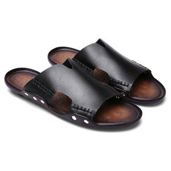 Leisure Stitching and PU Leather Design Men's Slippers - BLACK BLACK