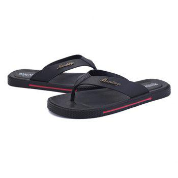 Casual Flat Heel and Flip Flop Design Men's Slippers - BLACK 44