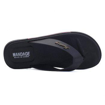 Casual Flat Heel and Flip Flop Design Men's Slippers - BLACK BLACK