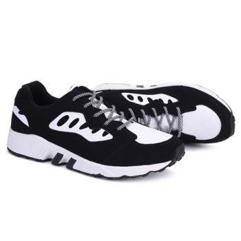 Casual  Color Block and Suede Design Men's Athletic Shoes - BLACK 40
