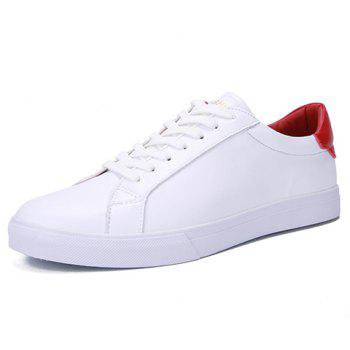 Simple Color Matching and PU Leather Design Men's Casual Shoes - RED/WHITE 39