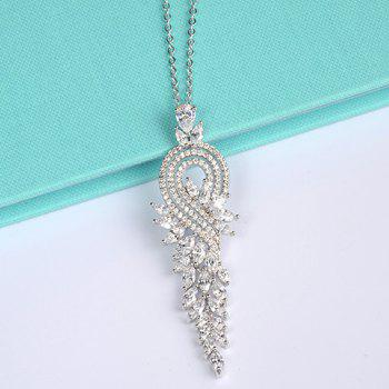 Graceful Rhinestoned Leaf Wedding Necklace Jewelry For Women