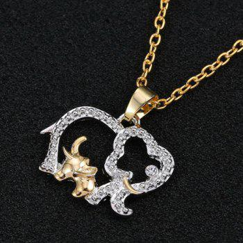 Elephant Hollow Out Rhinestoned Pendant Necklace - COLORMIX