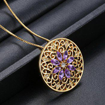 Rhinestone Floral Filagree Pendant Necklace - COLORMIX
