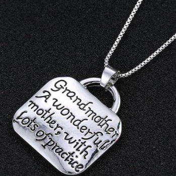 Lock Shape Letters Engraved Pendant Necklace - SILVER