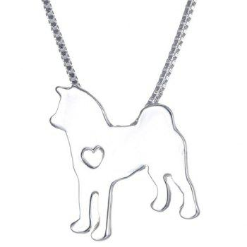 Simple Heart Husky Dog Shape Pendant Necklace For Men - SILVER SILVER