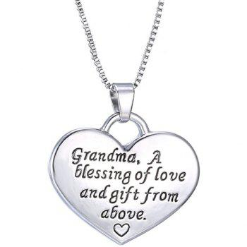 Engraved Letter Heart Pendant Necklace