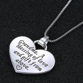 Engraved Letter Heart Pendant Necklace - SILVER