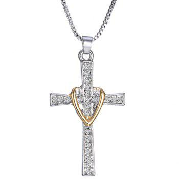 Delicate Rhinestone Cross Heart Necklace For Men - SILVER SILVER