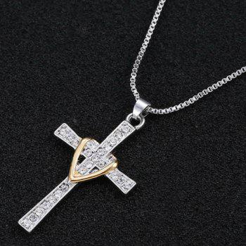 Delicate Rhinestone Cross Heart Necklace For Men -  SILVER